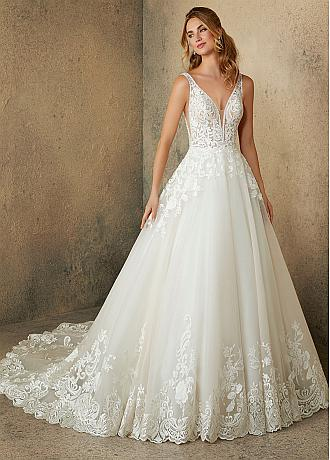Marvelous Tulle V-neck Neckline A-line Wedding Dresses With Beadings & Lace Appliques