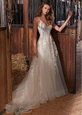 Fantastic Tulle Spaghetti Straps Neckline A-line Wedding Dresses With Beaded Lace Appliques