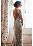 Gorgeous Tulle & Lace Jewel Neckline Mermaid Wedding Dresses With Lace Appliques