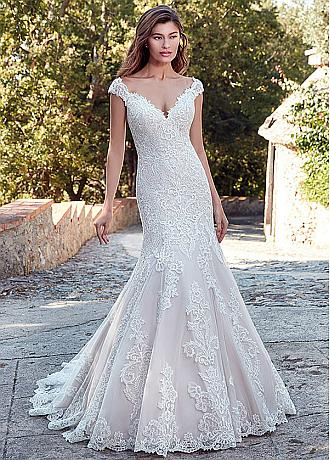 Alluring Tulle V-Neck Neckline Mermaid Wedding Dress With Lace Appliques