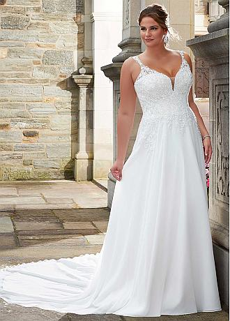 Exquisite Tulle & Chiffon V-neck Neckline A-line Wedding Dress With Beaded Lace Appliques
