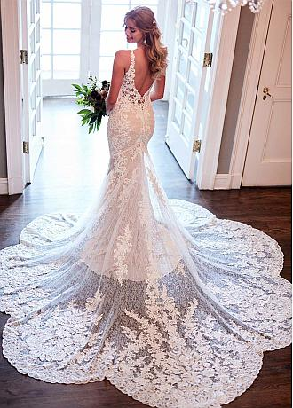 Marvelous Tulle & Lace V-neck Neckline Mermaid Wedding Dresses with Lace Appliques & Beads