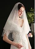 In Stock Brilliant Tulle Wedding Veil With Pearls