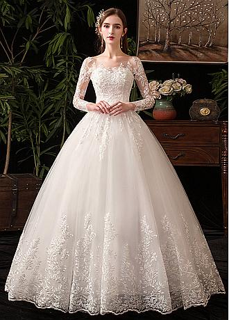 In Stock Fantastic Tulle Jewel Neckline Ball Gown Wedding Dresses With Lace Appliques