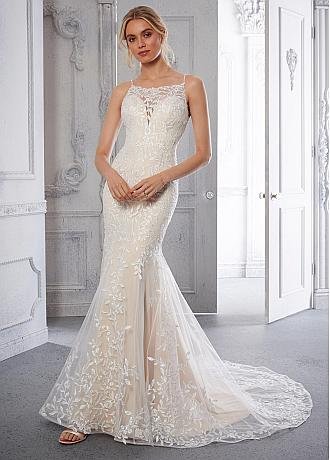 Romantic Tulle Square Neckline Mermaid Wedding Dresses With Lace Appliques & Beadings