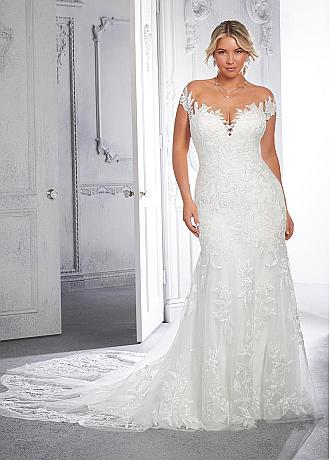 Attractive  Tulle Off-the-shoulder Neckline Mermaid Plus Size Wedding Dress With Lace Appliques
