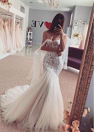 Fantastic Tulle Sweetheart Neckline Mermaid Dress With Lace Appliques