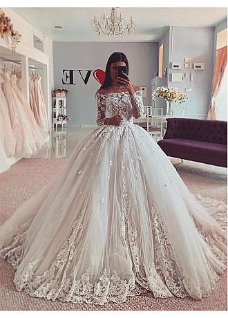 Glamorous Tulle Off-the-shoulder Neckline Ball Gown Wedding Dresses With 3D Lace Appliques