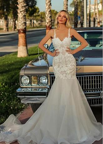 Amazing Tulle & Organza Sweetheart Neckline Mermaid Wedding Dresses With Lace Appiques