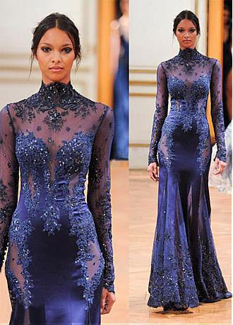 Elegant Tulle & Satin High Collar Neckline  See-through  Long Sleeves Mermaid Evening Dresses With Beaded Lace Appliques
