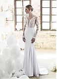 Charming Tulle V-neck Neckline See-through Sheath Wedding Dresses With Lace Appliques