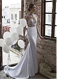 Exquisite Tulle Jewel Neckline See-through Sheath Wedding Dresses With Beaded Lace Appliques