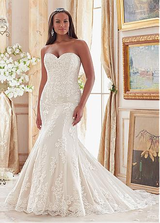 Exquisite Tulle Sweetheart Neckline Mermaid Plus Size Wedding Dresses With Lace Appliques