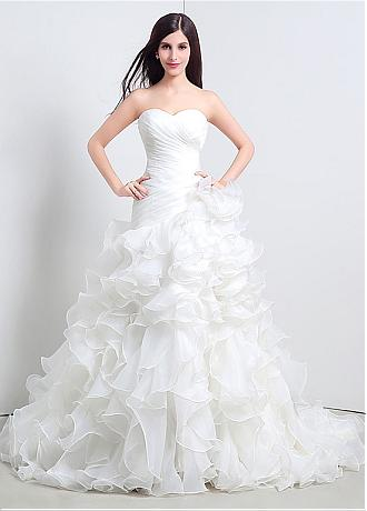 In Stock Fabulous Organza Sweetheart Neckline A-Line Wedding Dresses With Cascading Ruffles