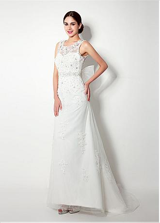 In Stock Attractive Tulle Scoop Neckline Sheath Wedding Dresses With Lace Appliques