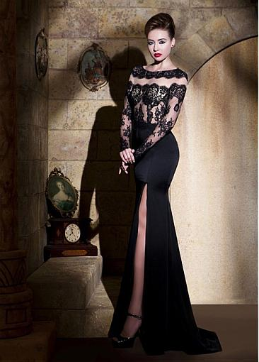 Sexy Tulle & Stretch Satin Bateau Neckline Sheath Evening Dresses With Lace Appliques