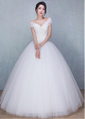 Gorgeous Tulle Off-the-shoulder Neckline Ball Gown Wedding Dresses With Beadings
