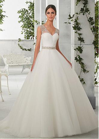 Classic Tulle & Organza V-Neck Ball Gown Wedding Dresses With Embroidery & Beadings