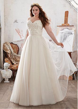 Dazzling Tulle & Satin Sweetheart Neckline Plus Size A-Line Wedding Dresses With Embroidery & Beadings