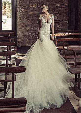Junoesque Tulle & Satin Bateau Neckline Mermaid Wedding Dresses With Beaded Lace Appliques