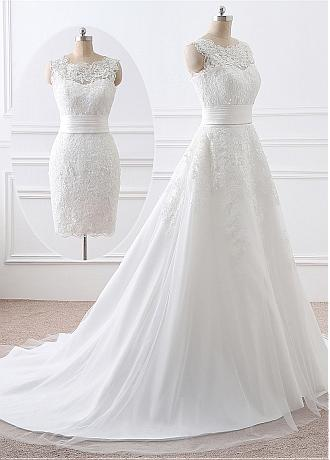 In Stock Gorgeous Tulle Scoop Neckline 2 In 1 Wedding Dresses With Lace Appliques