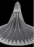 In Stock Modest Tulle Wedding Veil With Beadings & Lace Appliques