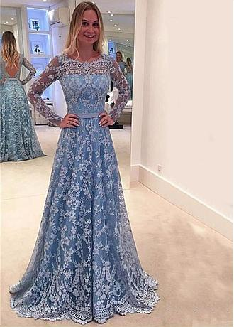 Glamorous Lace Jewel Neckline Long Sleeves A-line Prom Dresses With Belt & Bowknot