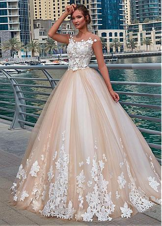 Glamorous Tulle Sheer Jewel Neckline Ball Gown Wedding Dress With Lace Appliques & 3D Flowers