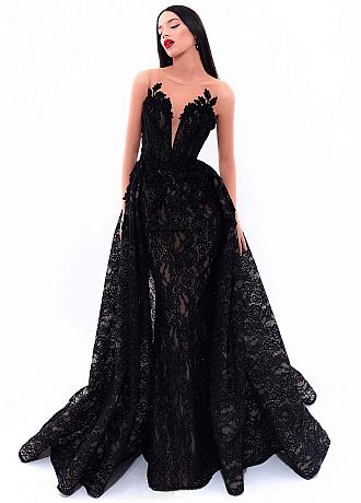 Stunning Lace Jewel Neckline 2 In 1 Evening Dresses With Lace Appliques