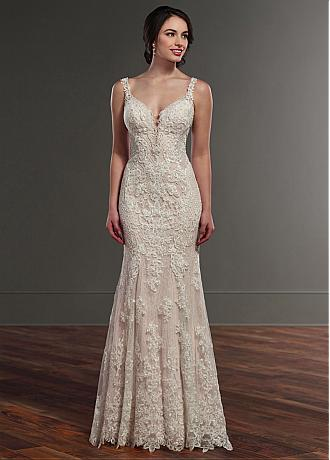 Charming Tulle & Lace V-neck Neckline Natural Waistline Mermaid Wedding Dress With Beaded Lace Appliques