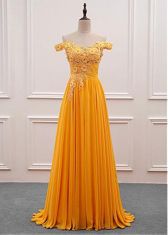Fascinating Tulle & Chiffon Off-the-shoulder Neckline A-Line Prom Dress With Beaded Lace Appliques