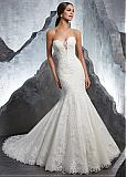 Delicate Tulle & Organza Sweetheart Neckline Natural Waistline Mermaid Wedding Dress With Lace Appliques