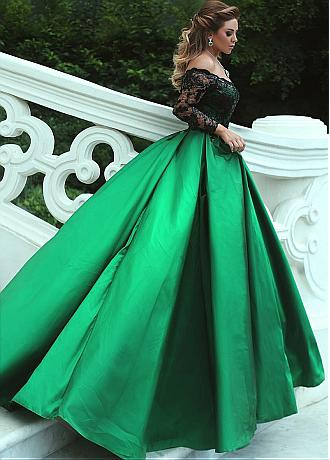 Attractive Lace & Satin Off-the-shoulder Neckline Long Sleeves A-line Evening Dress With Pleats