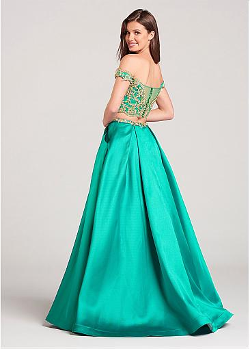 Winsome Satin Off-the-shoulder Neckline Two-piece A-line Prom Dress With Beaded Lace Appliques