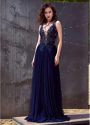 Modest Tulle V-neck Neckline A-line Evening Dress With Lace Appliques & Beadings