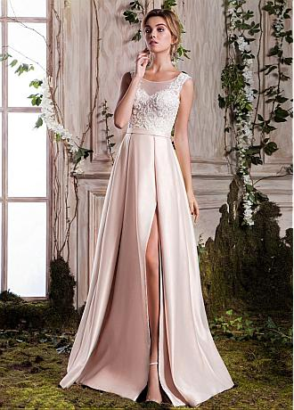 Delicate Satin Scoop Neckline A-line Prom Dress With Beaded Lace Appliques & Belt