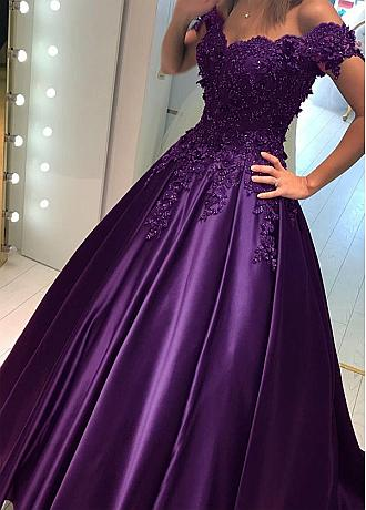 Fascinating Satin Off-the-shoulder Neckline A-line Evening Dress With Lace Appliques & 3D Flowers & Beadings