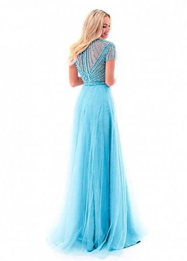 Modest Tulle Jewel Neckline Short Sleeves A-line Prom Dress With Beadings & Slit