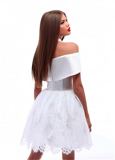 Attractive Satin & Lace Off-the-shoulder Neckline Short Ball Gown Homecoming Dress