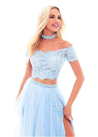 Fantastic Lace & Tulle Two-piece A-line Prom Dress With Lace Appliques & Beadings