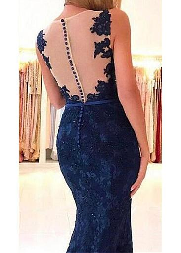 Excellent Tulle V-neck Neckline Mermaid Evening Dress With Beaded Lace Appliques
