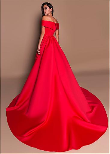 Hot Sale Satin Off-the-shoulder Neckline A-line Prom Dress With Pleats
