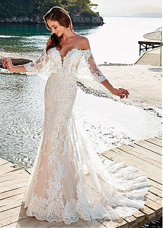 Glamorous Tulle Off-the-shoulder Neckline Mermaid Wedding Dress With Beadings & Lace Appliques