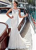 Modest Tulle & Lace Scoop Neckline Mermaid Wedding Dress With Beadings & Lace Appliques
