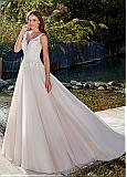 Attractive Tulle V-neck Neckline A-line Wedding Dress With Lace Appliques & Beadings