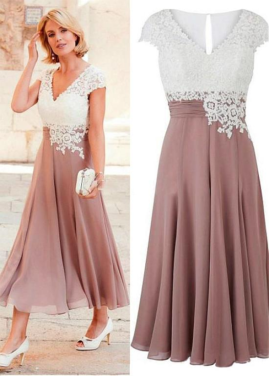 Wonderful Tulle & Chiffon V-neck Neckline Tea-length A-line Mother Of The Bride Dress With Lace Appliques