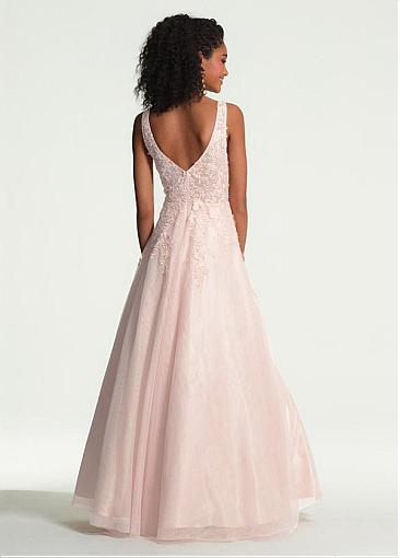 Hot Sale Tulle V-neck Neckline A-line Prom Dress With Lace Appliques & 3D Flowers With Beadings