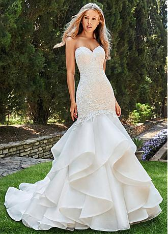 Junoesque Tulle & Organza Satin Sweetheart Neckline Mermaid Wedding Dress With Beaded Lace Appliques & Ruffles