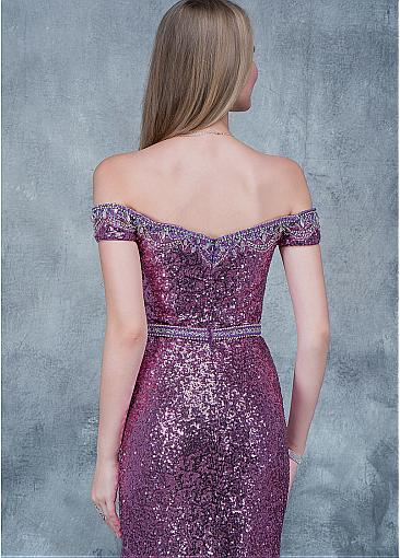 Sparkling Sequin Lace Off-the-shoulder Neckline Sheath/Column Prom Dress With Beadings & Slit