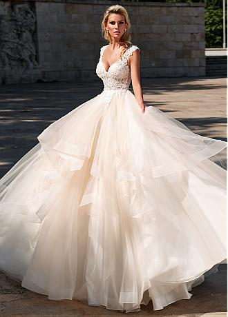 Junoesque Tulle V-neck Neckline Ball Gown Wedding Dress With Lace Appliqes & Beadings & Ruffles